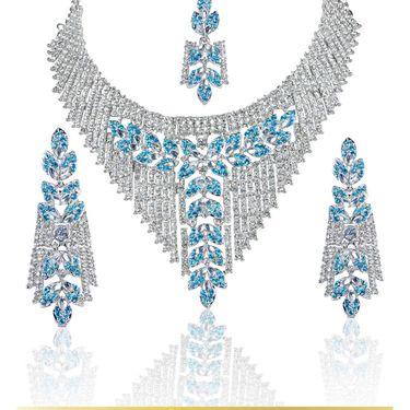 Kriaa Alloy Ethnic Necklace Set With Maang Tikka_2000103 - Turquise