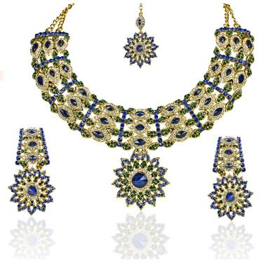 Kriaa Alloy Ethnic Necklace Set With Maang Tikka_2000106 - Blue
