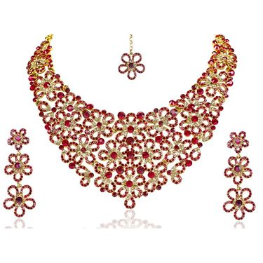 Kriaa Alloy Ethnic Necklace Set With Maang Tikka_2000116 - Multicolor