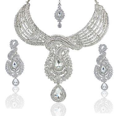 Kriaa Alloy Ethnic Necklace Set With Maang Tikka_2000122 - White