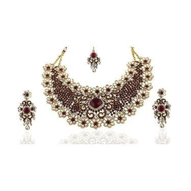 Kriaa Alloy Ethnic Necklace Set With Maang Tikka_2000319 - Maroon
