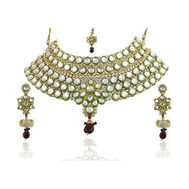 Kriaa Alloy Ethnic Necklace Set With Maang Tikka_2000305 - Green