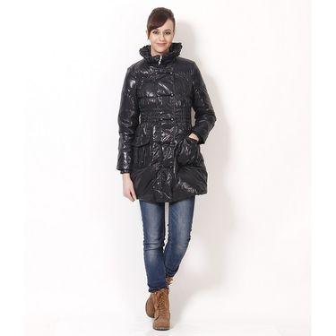 Yellow Tree Designer Polyester Black Full Sleeves Long Coat_Yt07