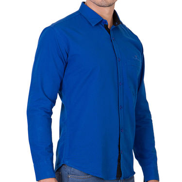 Branded Full Sleeves Cotton Shirt_R12kblu - Blue