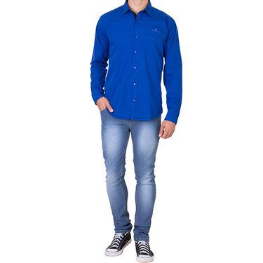 Branded Full Sleeves Cotton Shirt_R25kblu - Blue
