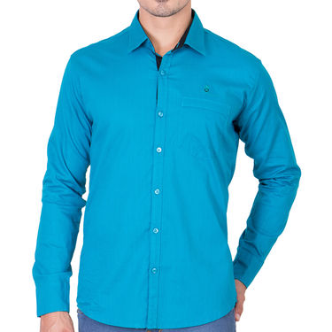 Branded Full Sleeves Cotton Shirt_R218turq - Blue