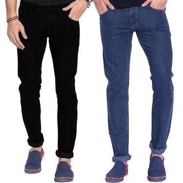 Pack of 2 Fizzaro Faded Plain Regular Fit Jeans_Fzcjbkbu - Black & Blue
