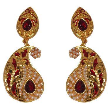 Kriaa Paisley Design Pearl Meenakari Earrings _1303120