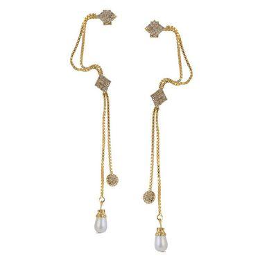 Kriaa Austrian Stone Pearl Drop Ear Cuff_1303305