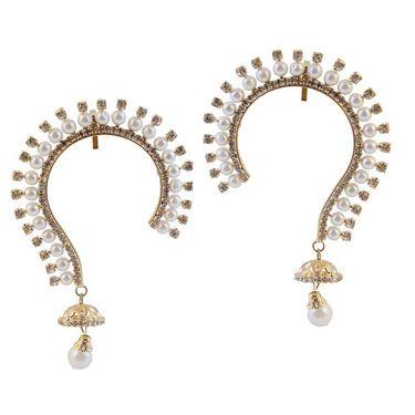 Kriaa Austrian Stone Pearl Drop Pair Ear Cuff _1303808