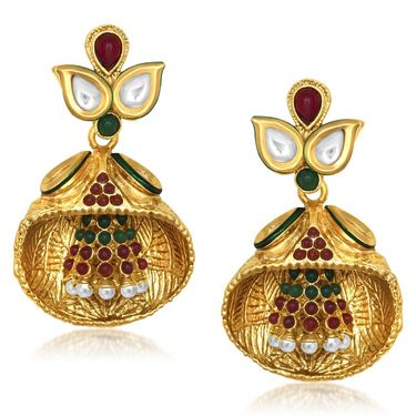 Kriaa Kundan Pearl Dangle Finish Earrings _1305433