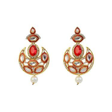 Kriaa Austrian Stone Meenakari Kundan Pearl Drop Earrings _1305941