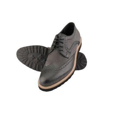 Delize Leather+Canvas Formal Shoes 25413-Black
