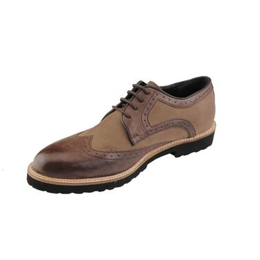 Delize Leather+Canvas Formal Shoes 25413-Brown