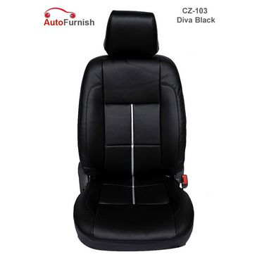 Autofurnish (CZ-103 Diva Black) Honda Amaze 2013-14 Leatherite Car Seat Covers-3001525