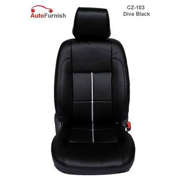 Autofurnish (CZ-103 Diva Black) Nissan Micra Leatherite Car Seat Covers-3001643