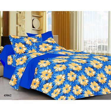 meSleep 100% Cotton Blue 1 Double Bed sheet 2 Pillow cover-45062-2