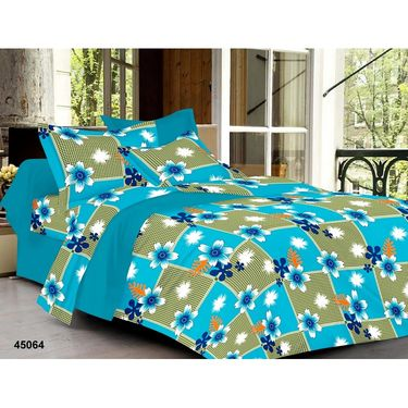 meSleep 100% Cotton Blue 1 Double Bed sheet 2 Pillow cover-45064-3
