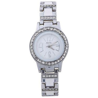 Adine Round Dial Analog Wrist Watch For Women_49ww027 - White