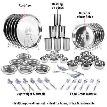 50 Pcs Designer Stainless Steel Dinner Set