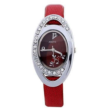 Adine Round Dial Analog Wrist Watch For Women_50rr029 - Red
