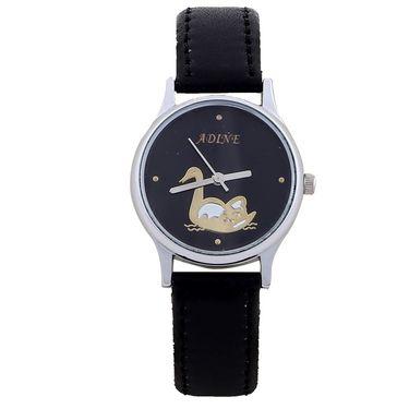 Adine Round Dial Analog Wrist Watch For Women_53bb034 - Black