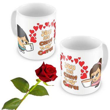 Cute Boy-Girl Design Coffee Mugs Pair n Rose Gift 501