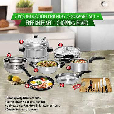 7 Pcs Induction Friendly Cookware Set + Free Knife Set + Chopping Board