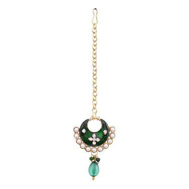 Vendee Fashion Pearl Latest Indian Jewellery Set - Green _ 8479