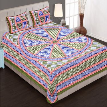 Priya Fashions Set of 8 Traditional Cotton Double Bedsheets with 16 Pillow Covers -PF102DWP8B