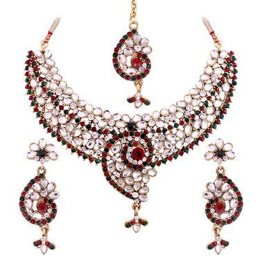 Vendee Fashion Kundan Fascination Necklace Set - Maroon & Green _ 8504