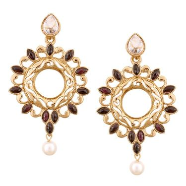 Vendee Fashion Beautiful Lovely Fashion Earrings - Golden & Purple _ 8541