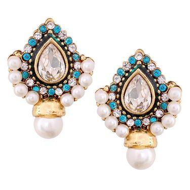 Vendee Fashion Kundan Traditional Pendant Set - Blue & Golden _ 8544