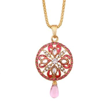 Vendee Fashion Awesome Traditional Pendant Set - Pink _ 8547