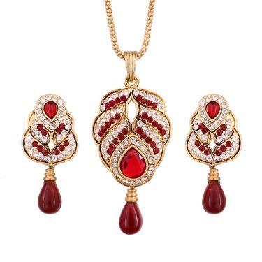 Vendee Fashion Beautiful Austrain Diamond Pendant Set - Red _ 8550