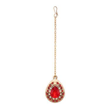 Vendee Fashion Kundan Bridal Necklace Set - Maroon _ 8601