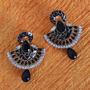 Vendee Fashion Traditional Unique Design Kundan Earrings - Black _ 8602G