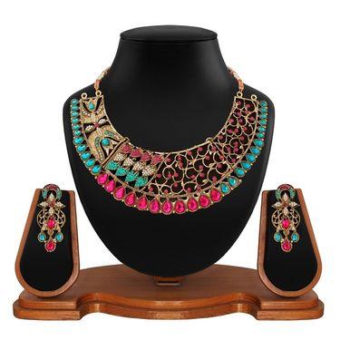 Vendee Fashion Kundan Antique Choker Design Necklace Set - Pink & Green _ 8610
