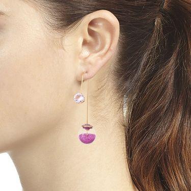 Vendee Fashion Kundan Unique Dangle Earrings - Purple _ 8614