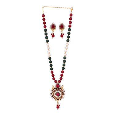 Vendee Fashion Rajwadi Kundan Necklace Set - Multicolour _ 8625