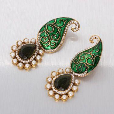 Vendee Fashion Kundan Ethnic Earrings - Green _ 8628A