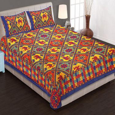 Set of 8 Cotton King Size Jaipuri Sanganeri Printed  Bedsheets and 16 Pillow Covers-8B90X108C1