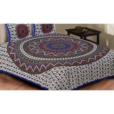 Set of 8 King Size Cotton Jaipuri Sanganeri Printed Bedsheets With 16 Pillow Covers-X108C7