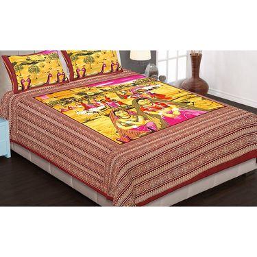 Set of 6 King Size Cotton Jaipuri Sanganeri Printed Bedsheets With 12 Pillow Covers-B6C3