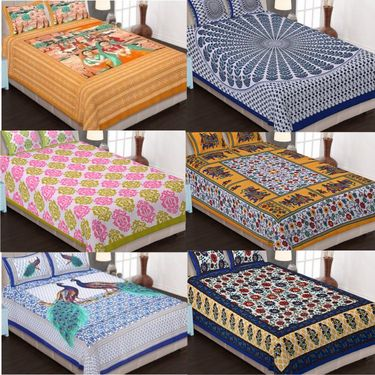 Set of 6 King Size Cotton Jaipuri Sanganeri Printed Bedsheets With 12 Pillow Covers-B6C4