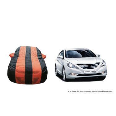 Autofurnish Stylish Orange Stripe Car Body Cover For Hyundai Sonata Fluidic -AF21170