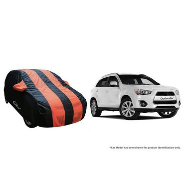 Autofurnish Stylish Orange Stripe Car Body Cover For Mitsubishi Lancer  -AF21221