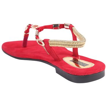 Azores Womens Red Flats -Azf_13R