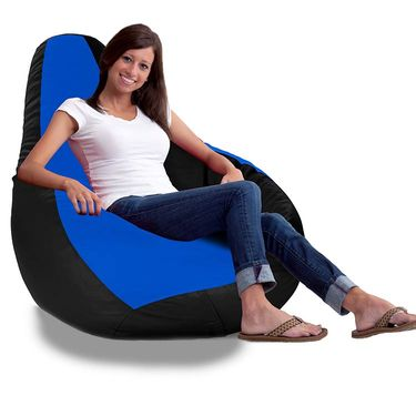 Storyathome-_XXL Blue - BLACK Bean Bag Chair Cover Without Beans-BB1402
