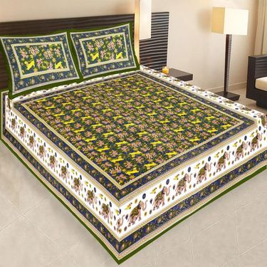 Combo of Jaipuri Print 100% Cotton 1 Diwan Set and 2 King size Double Bedsheets with 4 Pillow Covers-PF106D2BS1D